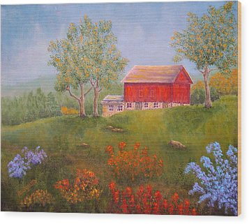 New England Red Barn Summer Wood Print by Pamela Allegretto