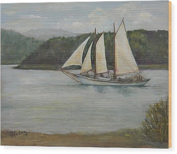 Wood Print featuring the painting New England Schooner by Sandra Nardone