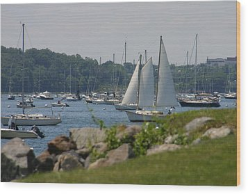 New England Seascape Wood Print by Denyse Duhaime