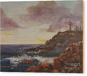 Wood Print featuring the painting New England Storm by Lee Piper
