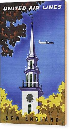 New England United Air Lines Wood Print by Mark Rogan