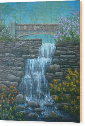 New England Waterfall Wood Print by Pamela Allegretto