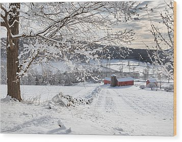 New England Winter Farms Wood Print by Bill Wakeley