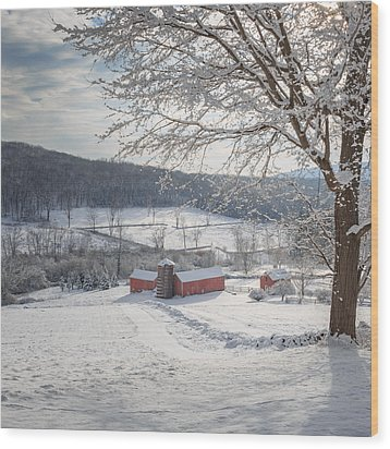 New England Winter Farms Morning Square Wood Print by Bill Wakeley
