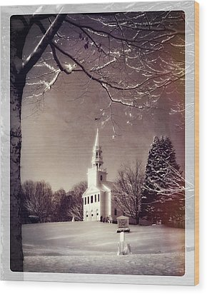 New England Winter Village Scene Wood Print by Thomas Schoeller