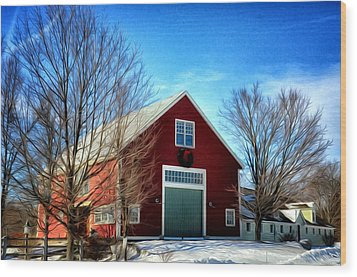 New Hampshire Farm Wood Print by Tricia Marchlik