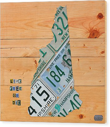 New Hampshire License Plate Map Live Free Or Die Old Man Of The Mountain Wood Print by Design Turnpike