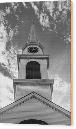 New Hampshire Steeple Detailed View Black And White Wood Print by Karen Stephenson