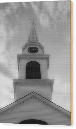 New Hampshire Steeple Dreamy View Black And White Wood Print by Karen Stephenson