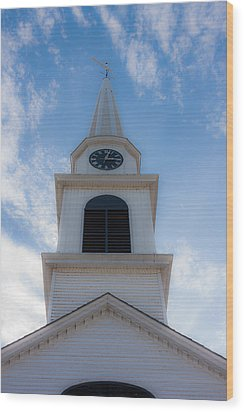 New Hampshire Steeple Dreamy View Wood Print by Karen Stephenson