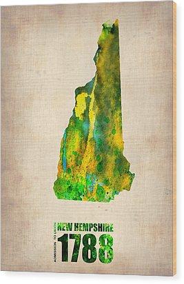 New Hampshire Watercolor Map Wood Print by Naxart Studio