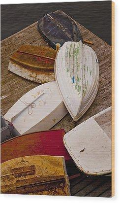 New Harbor Boats Wood Print by Karma Boyer