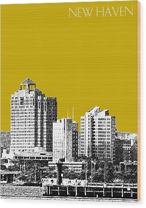 New Haven Skyline - Gold Wood Print by DB Artist