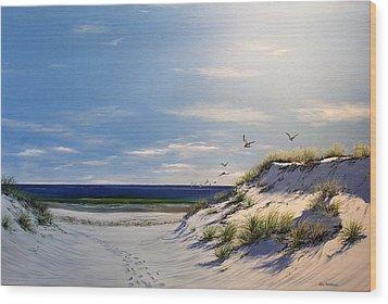 New Jersey Dune Walk Wood Print by Ken Ahlering