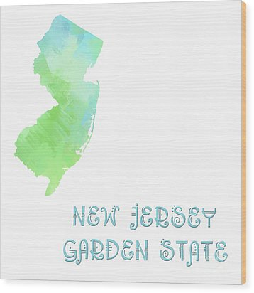 New Jersey - Garden State - Map - State Phrase - Geology Wood Print by Andee Design