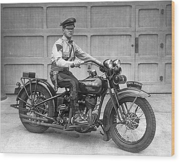 New Jersey Motorcycle Trooper Wood Print by Underwood Archives