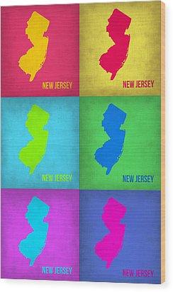 New Jersey Pop Art Map 1 Wood Print by Naxart Studio