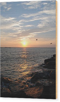 New Jersey Sunrise Wood Print by Kathy Gibbons