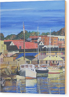 Wood Print featuring the painting New London Marina by Stuart B Yaeger