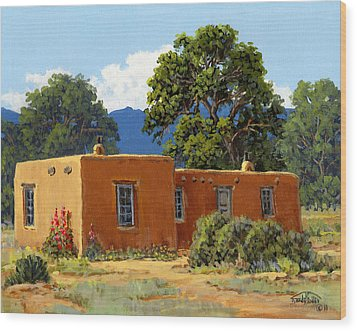New Mexico Adobe Wood Print by Randy Follis