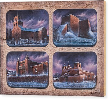 New Mexico Churches In Snow Wood Print by Ricardo Chavez-Mendez