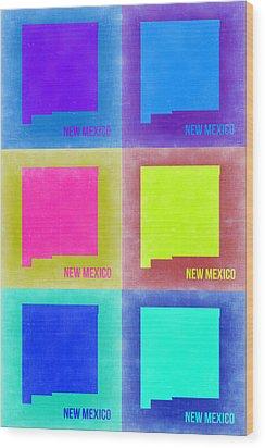 New Mexico Pop Art Map 2 Wood Print by Naxart Studio