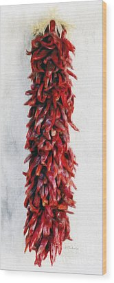 New Mexico Red Chili Art Wood Print by Barbara Chichester