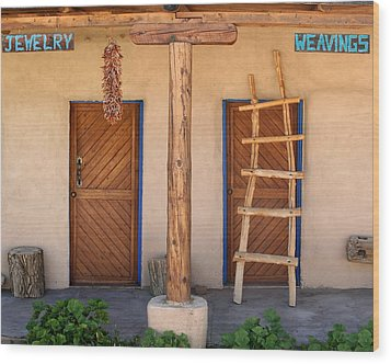 New Mexico Shop Fronts Wood Print by Heidi Hermes