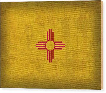 New Mexico State Flag Art On Worn Canvas Wood Print by Design Turnpike