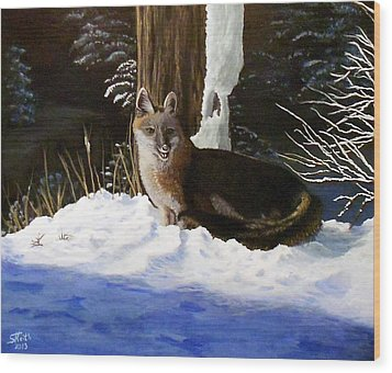 Wood Print featuring the painting New Mexico Swift Fox by Sheri Keith