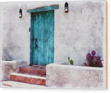 New Mexico Turquoise Door And Cactus  Wood Print by Barbara Chichester