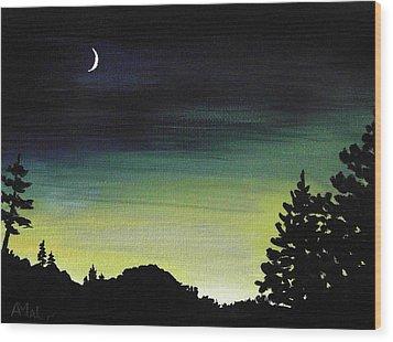 New Moon Wood Print by Anastasiya Malakhova