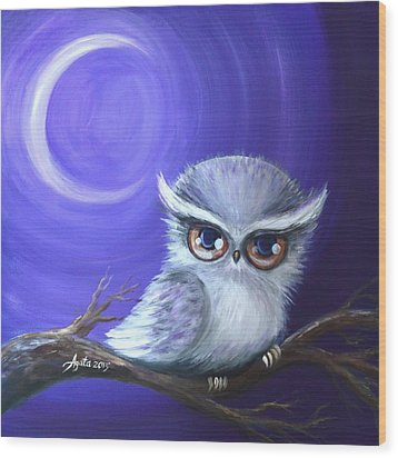 Wood Print featuring the painting New Moon Owl by Agata Lindquist