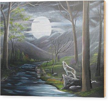 New Moon Wood Print by RJ McNall