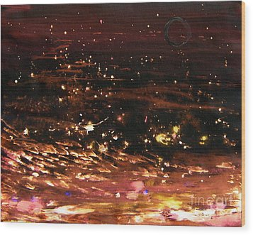 Wood Print featuring the painting New Moon Sea Stars by Christine Ricker Brandt