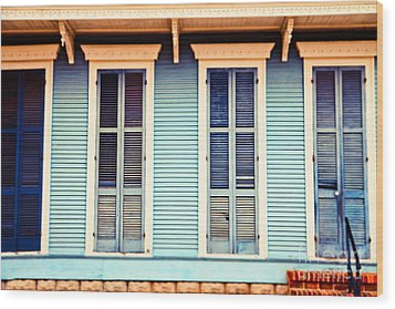 Wood Print featuring the photograph New Orleans Blue And Orange House by Sylvia Cook