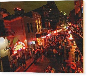 New Orleans - Bourbon St. 003 Wood Print by Lance Vaughn