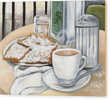 New Orleans Cafe Du Monde Wood Print by Elaine Hodges