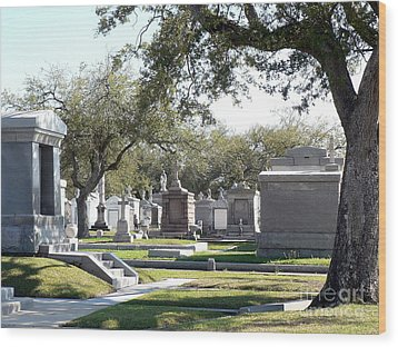 New Orleans Cemetery 2 Wood Print by Elizabeth Fontaine-Barr