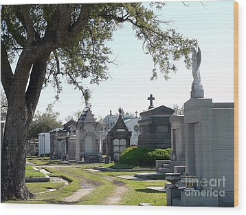 New Orleans Cemetery 3 Wood Print by Elizabeth Fontaine-Barr