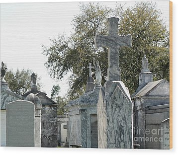 New Orleans Cemetery 4 Wood Print by Elizabeth Fontaine-Barr