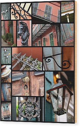 New Orleans Collage 2 Wood Print by Carol Groenen