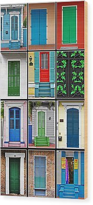 New Orleans Doors Wood Print by Christine Till