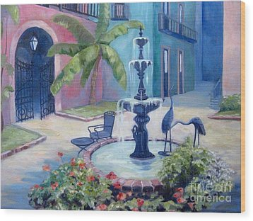 New Orleans Fountain 2 Wood Print by Gretchen Allen