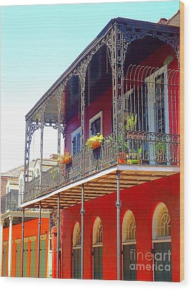 New Orleans French Quarter Architecture 2 Wood Print by Saundra Myles