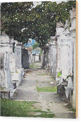 New Orleans French Quarter Cemetary Louisiana Artwork Wood Print by Olde Time  Mercantile