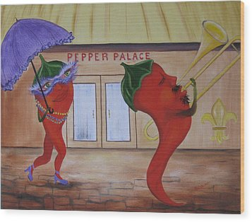 New Orleans Peppers Wood Print by RJ McNall