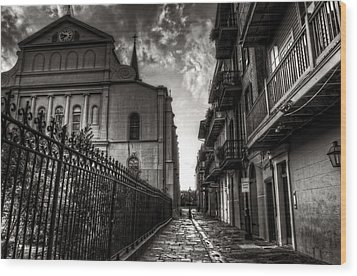 New Orleans' Pirates Alley In Black And White Wood Print by Greg and Chrystal Mimbs