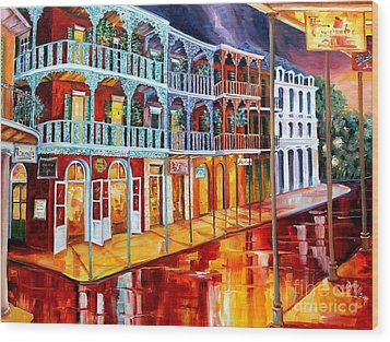 New Orleans Reflections In Red Wood Print by Diane Millsap