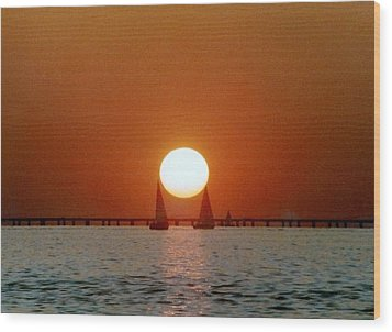 Wood Print featuring the photograph New Orleans Sailing Sun On Lake Pontchartrain by Michael Hoard
